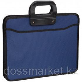 Папка-портфель OfficeSpace, А4+ формата, 3 отделения, на молнии, синий