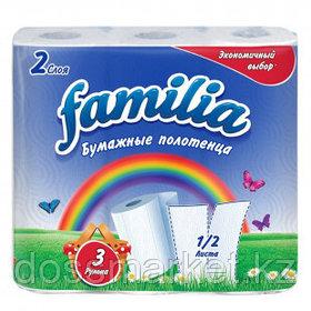 """Полотенца бумажные Familia """"Радуга"""", 2-х слойные, 3 рулона в упаковке, белые"""