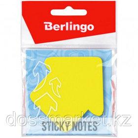 """Блок самоклеящийся фигурный Berlingo """"Стрелка"""", 50 листов, 70*70 мм, НЕОН, желтый"""