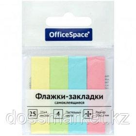 Закладки самоклеящиеся OfficeSpace, бумажные, 50*12 мм, 4 цвета, 100 листов