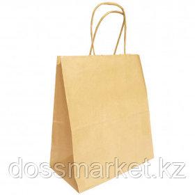 Пакет-сумка бумажная, прочная, размер 32*37+20 см, крафт, ручки крученые