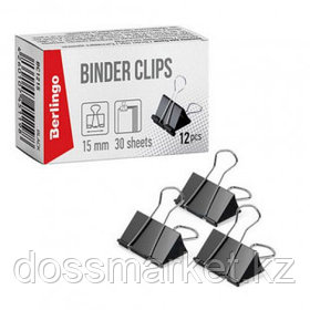 Зажимы для бумаг Berlingo, 15 мм, 12 шт., черные