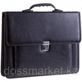 """Портфель деловой OfficeSpace """"Rotterdam"""", А4 формата, 3 отделения, люкс кожзам, с ремнем, черный"""