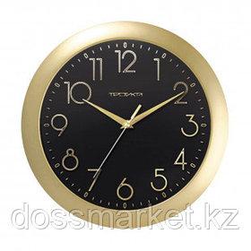 Часы круглые Troyka, d=29 см, золотистые, пластиковые