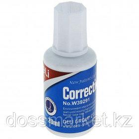 Корректирующая жидкость Deli, 20 мл, на спиртовой основе, с кисточкой