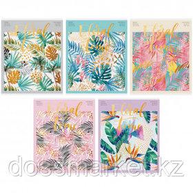 """Тетрадь ArtSpace """"Цветы. Tropical floral"""" А5, 48 листов, в клетку, на скрепке"""