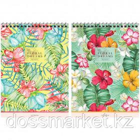"""Блокнот ArtSpace """"Цветы. Floral dreams"""" А5, 80 листов, на гребне, в клетку"""