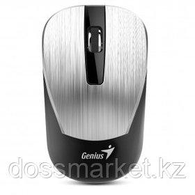 Мышь беспроводная Genius NX-7015, USB, 3 кнопки, 800-1600 dpi, оптическая, серебристая