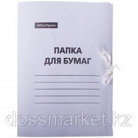 Папка с завязками OfficeSpace, А4 формат, мелованная, 300 г/м2, белая