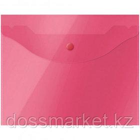 Папка-конверт с кнопкой OfficeSpace, А5, 150 мкм, полупрозрачная, красная