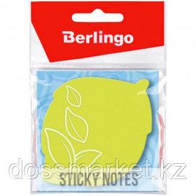 """Блок самоклеящийся фигурный Berlingo """"Лист"""", 50 листов, 70*70 мм, НЕОН, зеленый"""