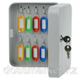 Ключница OfficeSpace на 20 ключей, 200*160*80 мм, с брелоками, серая