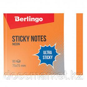"""Блок самоклеящийся 75*75 мм, Berlingo """"Ultra Sticky"""" НЕОН, оранжевый, 80 листов"""