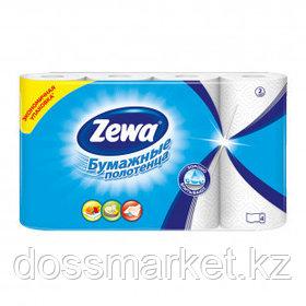 Полотенца бумажные Zewa, 2-х слойные, 4 рулона в упаковке, 14 м, белые