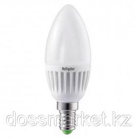 Лампа светодиодная Navigator NLL-C, 5 Вт, 2700К, теплый белый свет, E14, форма свеча