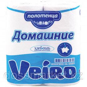 """Полотенца бумажные Veiro """"Домашние"""", 2-х слойные, 2 рулона в упаковке, 12,5 м, белые"""