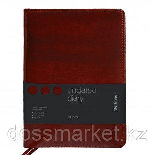 """Ежедневник недатированный Berlingo """"xGold"""", А6, 160 л., кожзам, золотой срез, бордовый"""