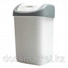 Ведро-контейнер для мусора OfficeClean, 14 л, качающаяся крышка, пластик, серое