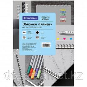 Подложки для переплета картонные OfficeSpace, А4, 250 гр, глянец, черные, 100 шт.