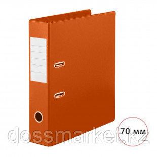 "Папка-регистратор Deluxe ""Office"", А4, ширина корешка 70 мм, оранжевая, двусторонняя"