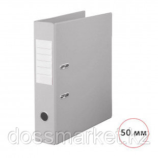"""Папка-регистратор Deluxe """"Office"""", А4, ширина корешка 50 мм, серая, двусторонняя"""