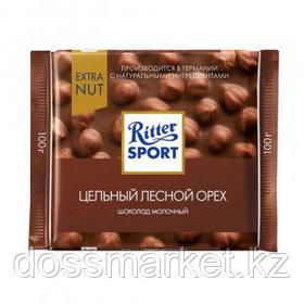 """Шоколад молочный Ritter SPORT """"Цельный лесной орех"""" 100 гр"""