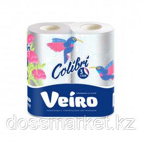 """Полотенца бумажные Veiro """"Colibri"""", 3-х слойные, 2 рулона в упаковке, 13,5 м, белые"""