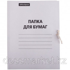 Папка с завязками OfficeSpace, А4 формат, немелованная, 280 г/м2, белая