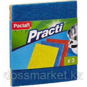 Губки для мытья посуды абразивные Paclan, в комплекте 3 шт.