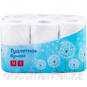 Туалетная бумага рулонная OfficeClean, 14,5 метра, 2-х слойная, 12 рулонов, белая