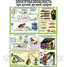 """Плакат по ТБ """"Электробезопасность при ручной дуговой сварке"""", размер 400*600 мм"""
