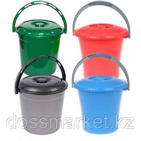 Ведро пластиковое, 10 литров, с крышкой, ассорти
