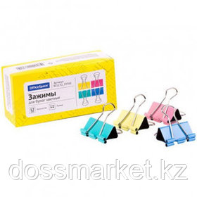 Зажимы для бумаг OfficeSpace, 32 мм, 12 шт., цветные