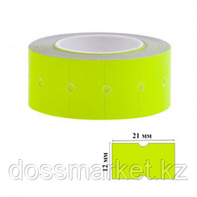 Этикет-ценник OfficeSpace, прямоугольные, 21 мм*12 мм, 500 шт. в рулоне, желтый