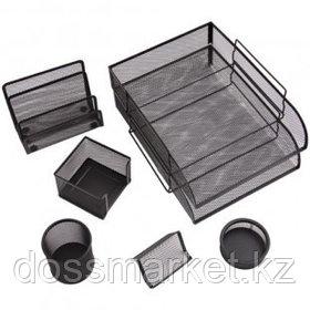 """Набор настольный Berlingo """"Steel&Style"""", 7 предметов, металлический, сетчатый, черный"""