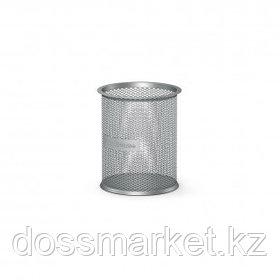 """Стакан металлический Erich Krause """"Compass"""", 90*90*100 мм, сетчатый, круглый, серебряный"""