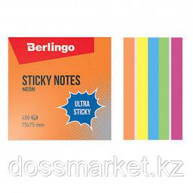 """Блок самоклеящийся 75*75 мм, Berlingo """"Ultra Sticky"""", 5 неоновых цветов + 1 белый, 450 листов"""