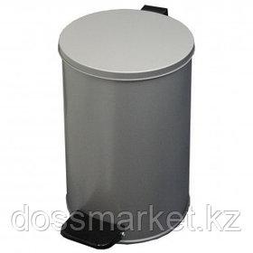 Ведро для мусора, 10 л, с педалью, оцинкованная сталь, серое