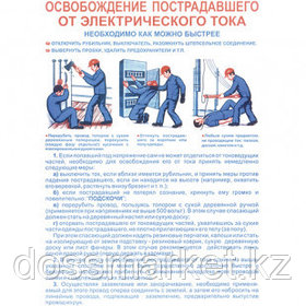 """Плакат по ТБ """"Освобождения пострадавшего от электрического тока"""", размер 400*600 мм"""