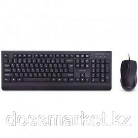 Проводной набор Delux DLD-6075OUB, клавиатура и мышь, USB, черный