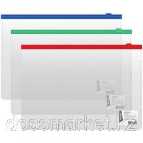 Папка-конверт Berlingo, А4 формат, 110 мкм, Zip-Lock, прозрачная