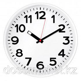 Часы круглые Troyka, d=30 см, белые, пластиковые, минеральное стекло