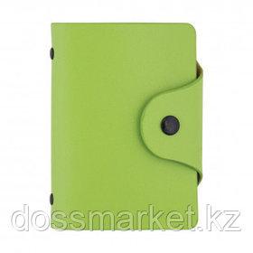 Визитница карманная OfficeSpace на 40 визиток, 80*100 мм, кожзам, кнопка, зеленая