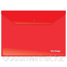 Папка-конверт с кнопкой Berlingo, А4, 180 мкм, до 50 листов, красная