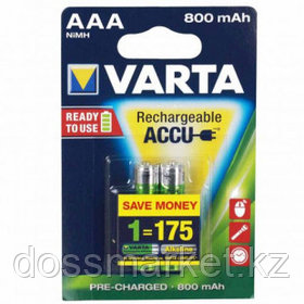 Аккумулятор Varta R2U Micro, мизинчиковые AAA, 800 mAh, 1.2V-HR03, 2 шт./уп., цена за упаковку