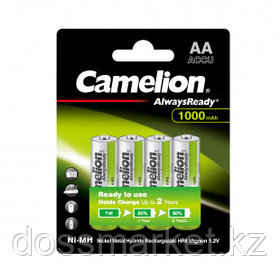 Аккумулятор Camelion AlwaysReady, пальчиковые AA, Ni-MH, 1000 mAh 1.2V, 4 шт./уп., цена за упаковку