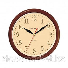 Часы круглые Troyka, d=24 см, коричневые, пластиковые