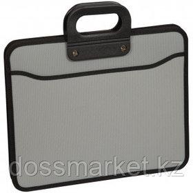 Папка-портфель OfficeSpace, А4+ формата, 3 отделения, на молнии, серый