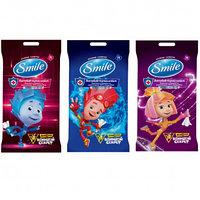 """Салфетки влажные Smile """"Фиксики"""", с антибактериальным эффектом,15 штук в упаковке"""