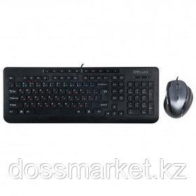 Проводной набор Delux DLD-6220OUB, клавиатура и оптическая мышь, каз/рус/анг, USB, черный